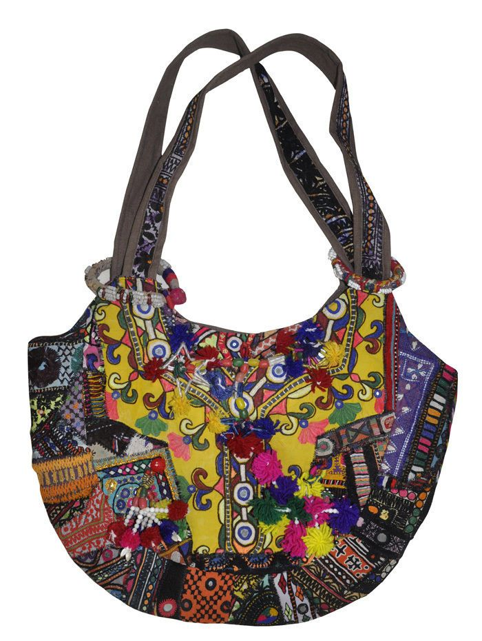 Embroidery Cotton Bag India Boho Patchwork Embroidery Fashion Mothers Gift Bags  #LalHaveli #ShoulderBag
