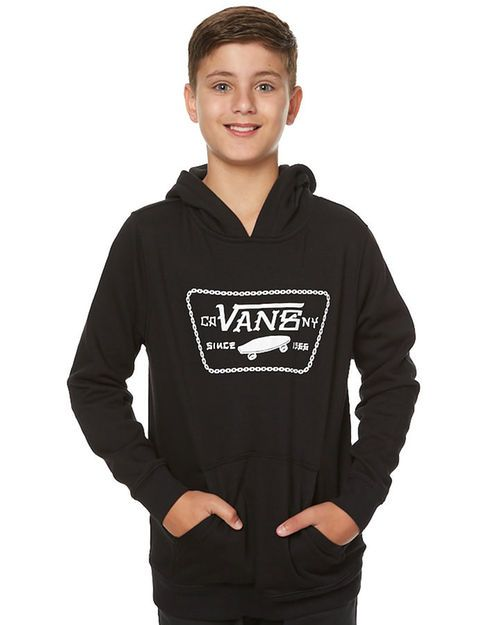 Features: Style: Boy's Hoodie Colour: Black Material: 80% Cotton, 20% Polyetser Fit Type: Regular Hood with drawcord Front pouch pocket Large logo print to front Ribbed cuff & hem