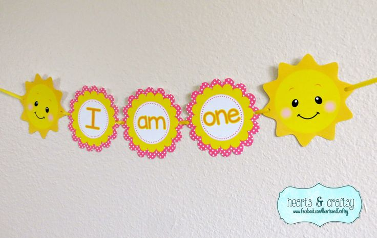 "You Are My Sunshine Birthday ""I Am One"" Banner / Sunshine Birthday Party Highchair Banner- FILE to PRINT DIY by HeartsandCraftsy on Etsy https://www.etsy.com/listing/226011277/you-are-my-sunshine-birthday-i-am-one"