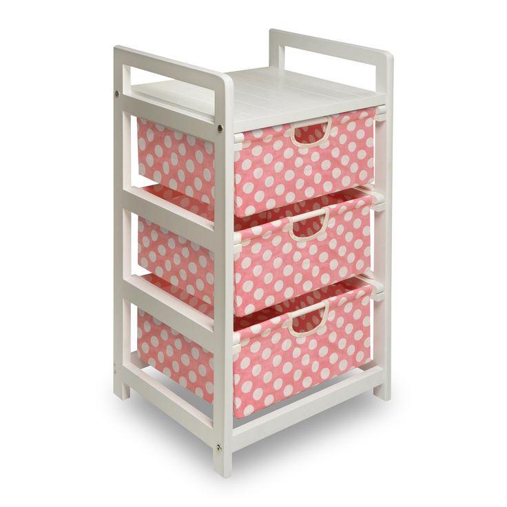 Badger Basket White 3 Drawer Hamper/Storage Unit - Polka Dots - BGR155