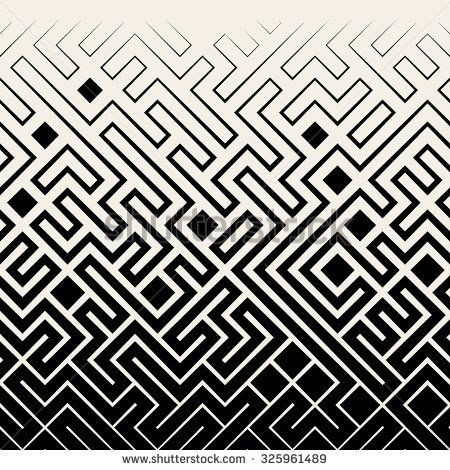 Vector Seamless Black & White Square Maze Lines Halftone Pattern Background