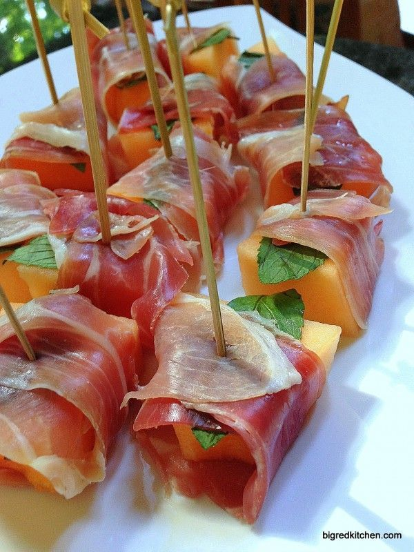 During melon season, we eat cantaloupe and proscuitto almost daily. I like it with basil instead of mint. Without any herbs is yummy, too. An incredibly easy appetizer!