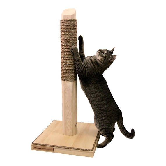 This 28 Inch Vertical Scratching Post is perfect for cats that like to scratch vertical surfaces. The 15 x 15 solid wood base prevents tipping and the 28 inch scratching height allows your feline plenty of height to stretch and scratch. The top 17 are wrapped with your choice of sisal (blond) or manila (brown) rope. The base comes with sisal or manila rope trim and rubber feet for no slip on hard floors or carpet.