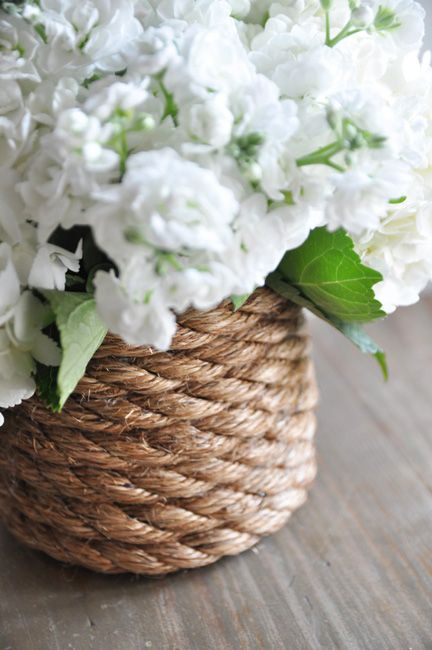 Super easy, nautically-inspired rope-wrapped vase via Bungalow Blue Interiors