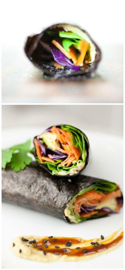 Easy Fusion Nori Veggie Wraps - Nori wrap with hummus, hoisin sauce, carrots, spinach and avocado.  Mmmmmmm
