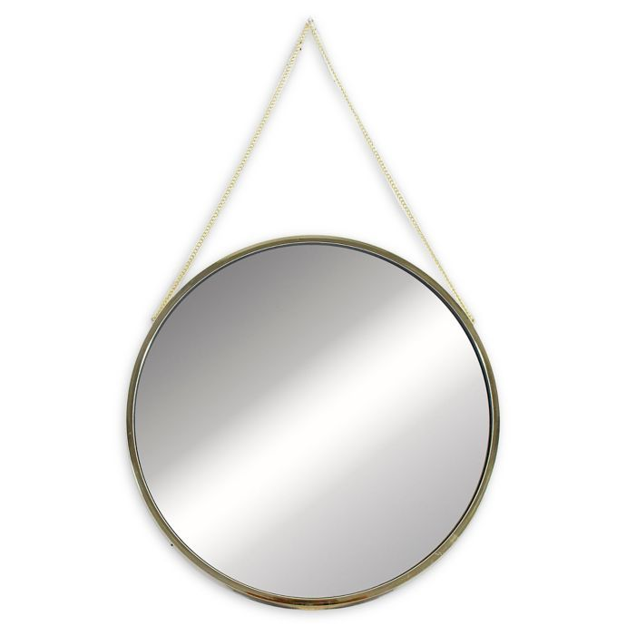 12 Inch X 12 Inch Round Mirror With Hanging Chain In Gold Bed Bath Beyond Mirror Round Mirrors Mirrors With Chains