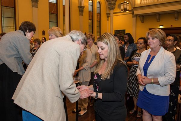 In a unique ceremony among Maryland's nursing schools, the School Sisters of Notre Dame conducted a Blessing of the Hands May 21 to send the graduating nursing students to heal the community. (Photo Howard Korn for NDMU)