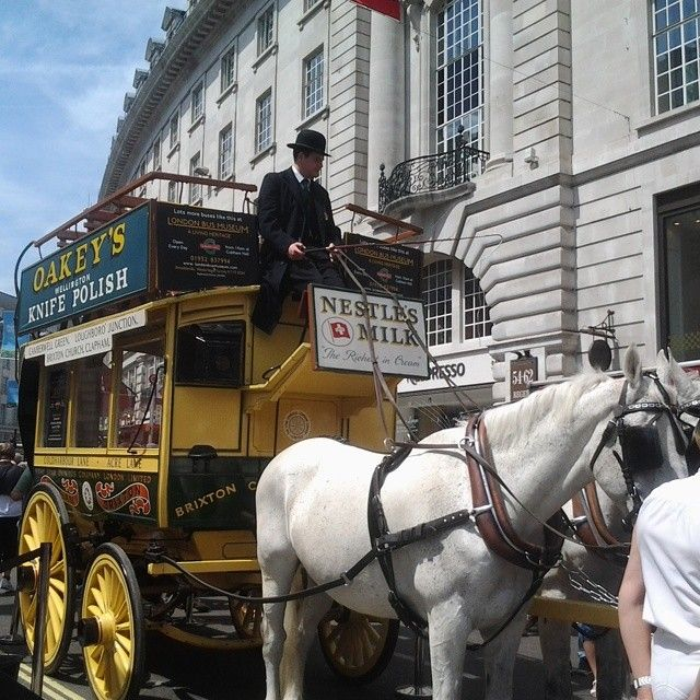 The horse bus from 1829, the oldest bus on display #Yearofthebuscavalcade2014 #RegentStreet #London #LondonTransport #LoveLondon #horses #buses - Vamosrafaelnadal