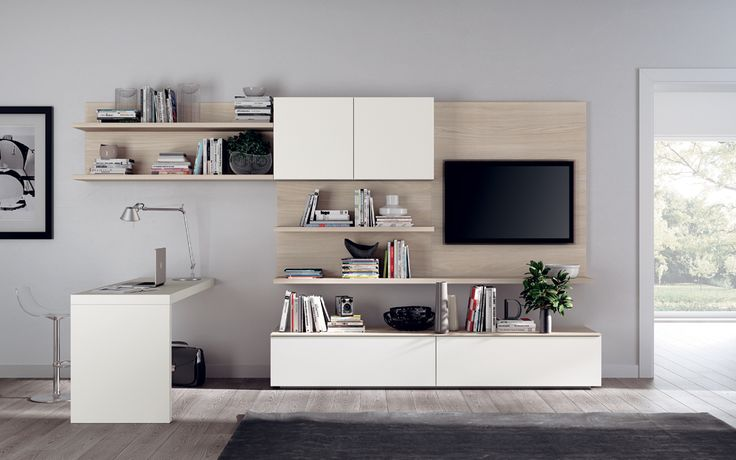 A Living Room Composition Which Includes A Wall Mounted