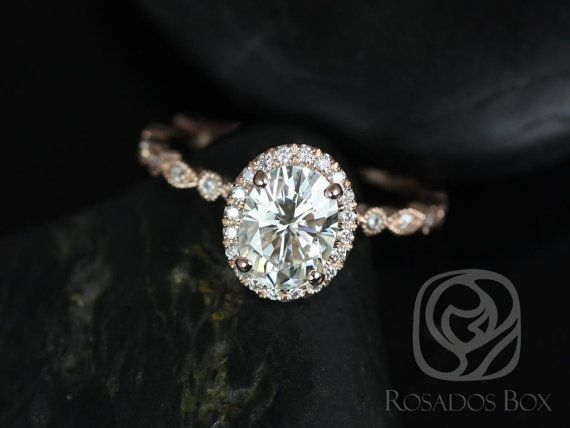 *NEW RELEASE* Gwen 8x6mm 14kt Rose Gold Oval FB Moissanite and Diamonds Vintage Halo WITH Milgrain Engagement Ring (Other metal/stone options available)