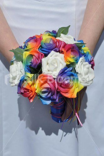 Multicoloured Rainbow Rose Bridesmaids Wedding Bouquet w/ Ribbon