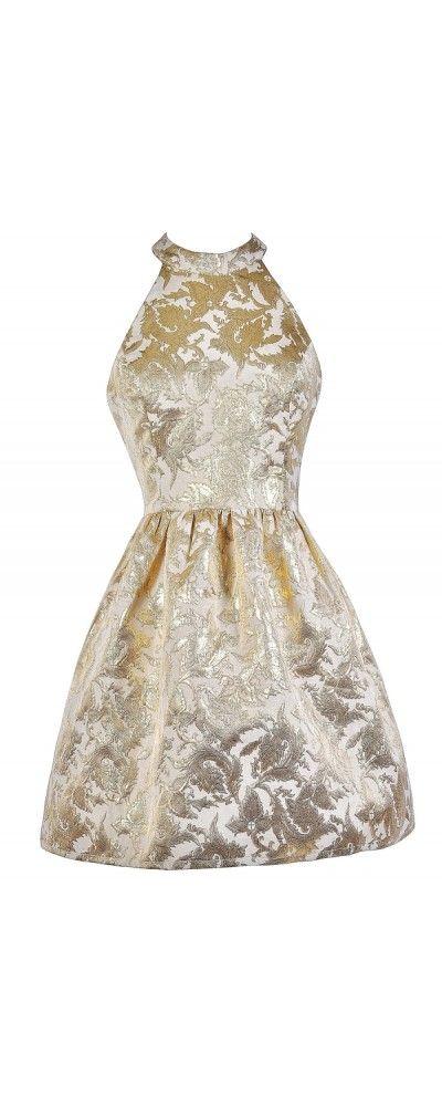 Lily Boutique Goldleaf Glamour High Neck Metallic Party Dress, $54 Metallic Gold Party Dress, Gold High Neck Dress, Boutique Dress www.lilyboutique.com