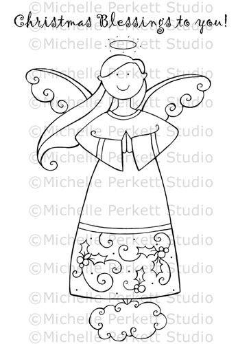 Digital Stamp Image Angel Christmas Wings Holly Cardmaking Scrapbooking
