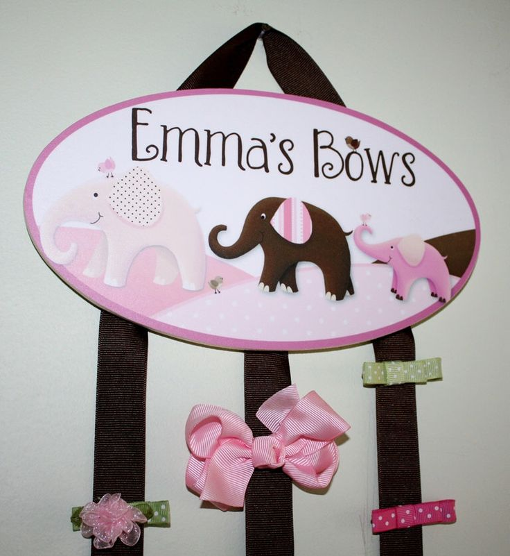 HAIR BOW HOLDER - Personalized Pink Elephant HairBow Holder - Bows and Clips Organizer Girls Personal Hair Bow and Clip Hanger Holder BH068 by ToadAndLily on Etsy https://www.etsy.com/listing/97886884/hair-bow-holder-personalized-pink