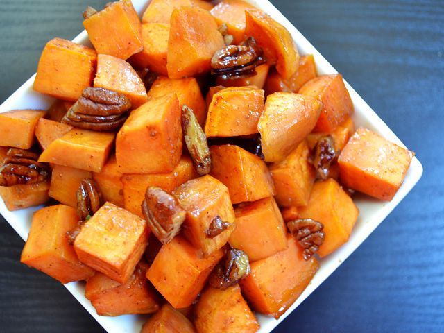 Roasted Sweet Potatoes w/ brown sugar, maple, and pecans.  A different take on sweet potatoes for Thanksgiving