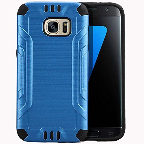 Buy For Samsung Galaxy S7 SM-G930 Metallic Slim Armor Case [SlickGearsTM] Premium Brushed Metal Finish Shock Impact Protection Dual Layer TPU Hybrid Case (Blue) NEW for 9.99 USD | Reusell
