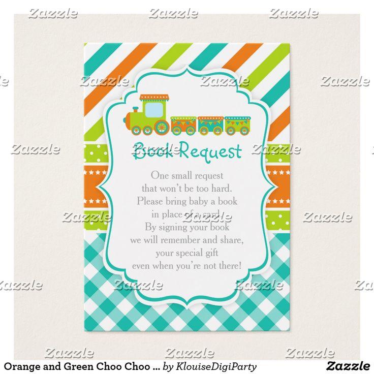 Orange and Green Choo Choo Train Book Request Business Card