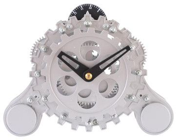 Moving-Gear Table Clock w Alarm - contemporary - Alarm Clocks - ivgStores