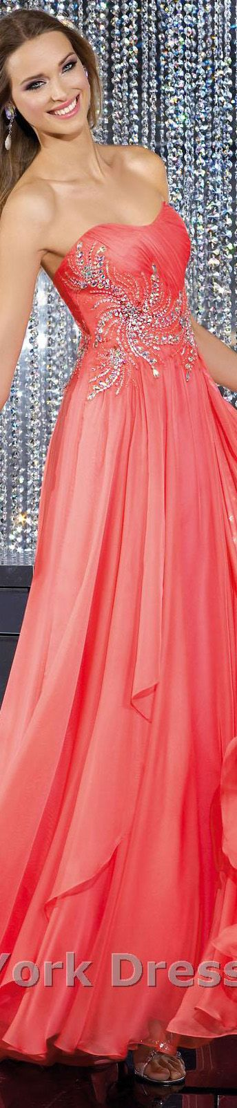 Coral evening gown...exquisite detail.