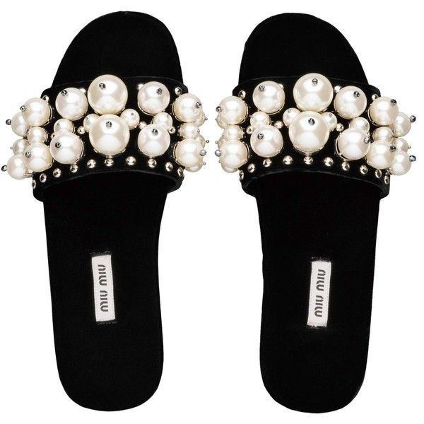 Miu Miu SLIPPERS (2.625 RON) ❤ liked on Polyvore featuring shoes, slippers, flats and sandals