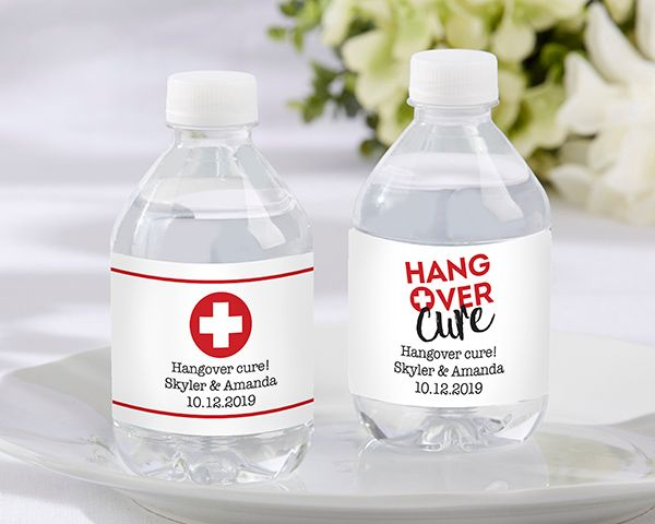 Hangover Cure Personalized Water Bottle Labels