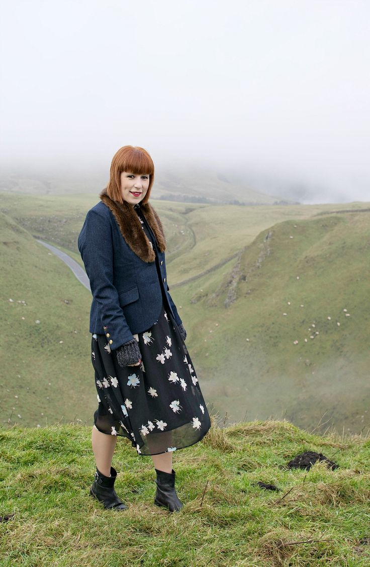 Joules tweed jacket with black printed dress