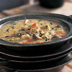 Roasted Chicken with Wild Rice Soup | MyRecipes.com