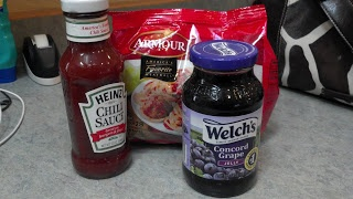 3 ingredient crock pot / slow cooker Cocktail meatballs: (10 oz) jar chili sauce (12 oz) jar grape jelly 1 package frozen cooked meatballs or lil smokies.  pour all ingredients into slow cooker & cook on low for at least 2 hours. Serve from crockpot with slotted spoon or toothpicks.