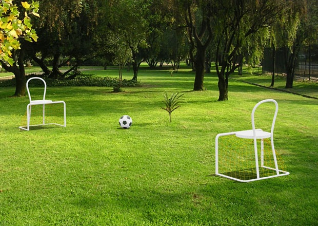 "Lazy Football by Emanuele Magini. ""Vous voulez rire?"" /Are you kidding ? Curator : Benjamin Girard/agence Design Project - Scenography : 5.5 Designers - Biennale Internationale Design Saint Etienne."