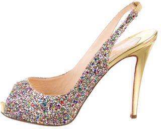 christian louboutin glitter slingback heel
