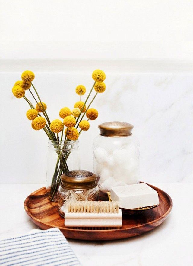 Bathroom Tray With Jars of Cotton