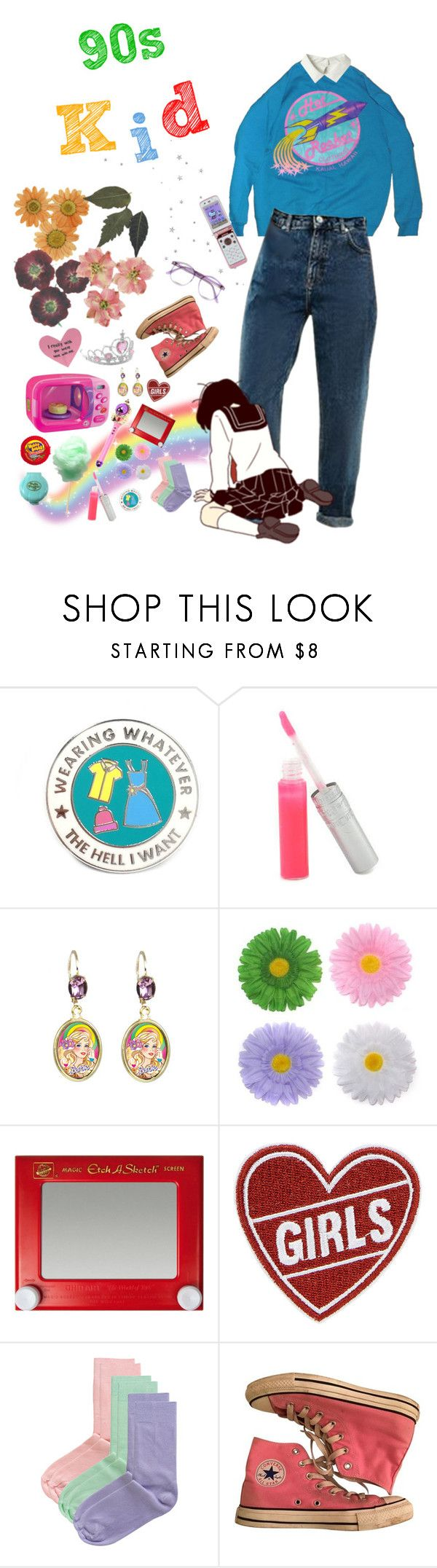 """90s Kid"" by owlenstar on Polyvore featuring T. LeClerc, Tarina Tarantino, Goody, Hello Kitty, American Apparel, Converse and Warehouse"