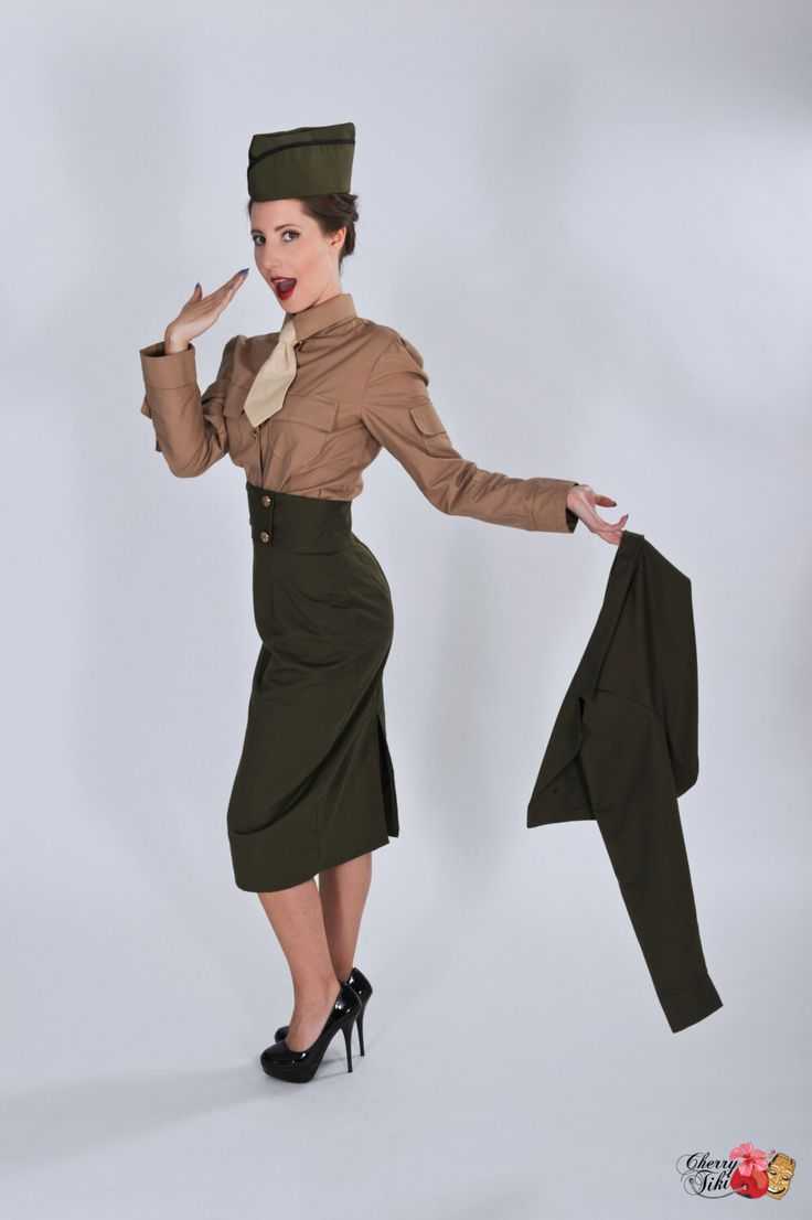 Pinup Military Suit - Pin Up Army Outfit - High Waist Skirt - Cropped Jacket - Shirt and Tie - Wedge Cap -  Custom Size including Plus Sizes by CherryTiki on Etsy https://www.etsy.com/listing/177237439/pinup-military-suit-pin-up-army-outfit