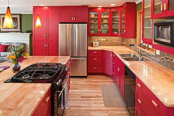 17 Best Ideas About Red Kitchen Cabinets On Pinterest
