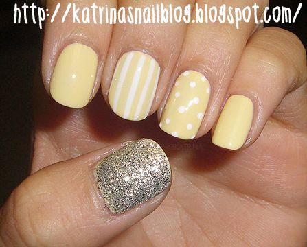 Yellow Nails :-): Silver Glitter, Yellow Nails, Polka Dots, Nails Art, Nails Design, Glitter Nails, Nails Ideas, Nails Polish, Pale Yellow