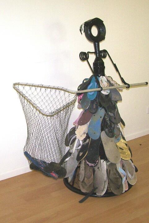 The Thong Catcher.      metal,found beach thongs