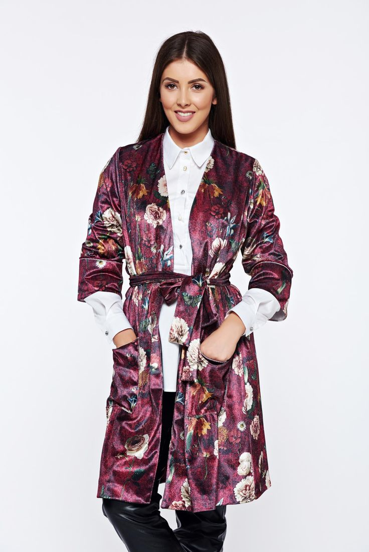 PrettyGirl burgundy velvet casual jacket with floral prints, women`s jacket, inside lining, 3/4 sleeves, easy cut, floral prints, with pockets, velvet