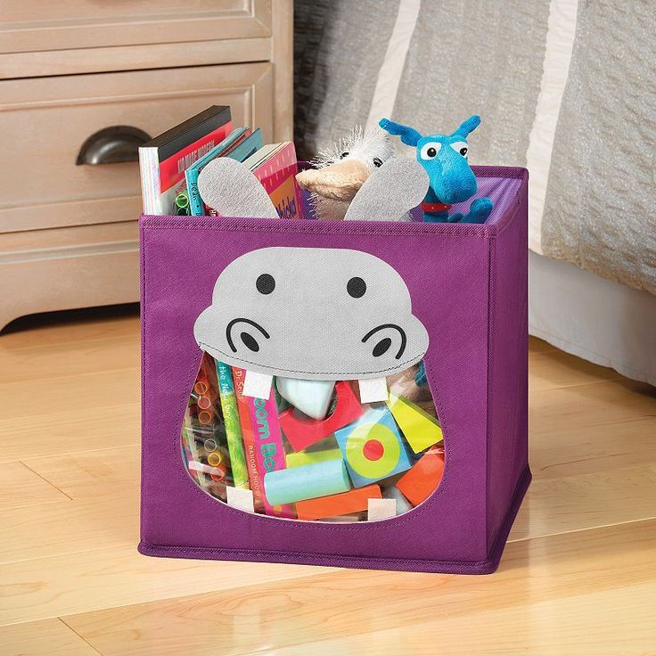 Whitmor Hippo Collapsible Storage Cube, Purple