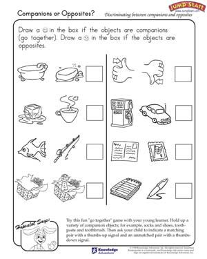 Companions or Opposites? - Free Critical Thinking Worksheet for Kids