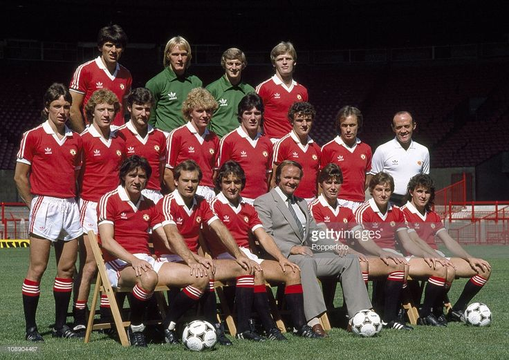 Manchester United team group at Old Trafford Manchester August 1981 Back row left to right Nikola...