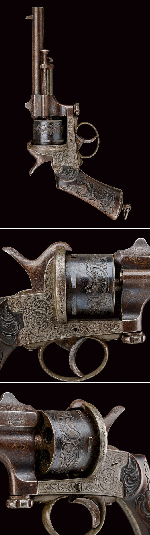 A Marietta pin-fire revolver: provenance: Belgium dating: third quarter of the 19th Century