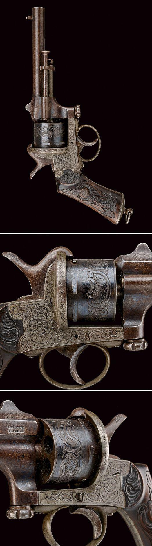 A Marietta pin-fire revolver: provenance: Belgium dating: third quarter of the 19th Century