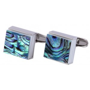 Luxe Square Abalone Stainless Cufflinks