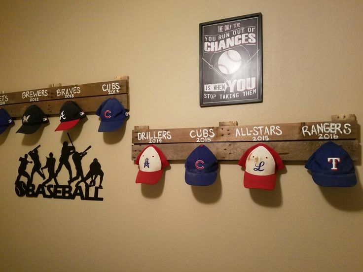 Baseball hat display for my sons room...dirt and all!