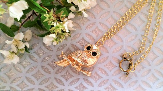 Gold metal owl pendant necklace  owl bird jewelry  golden