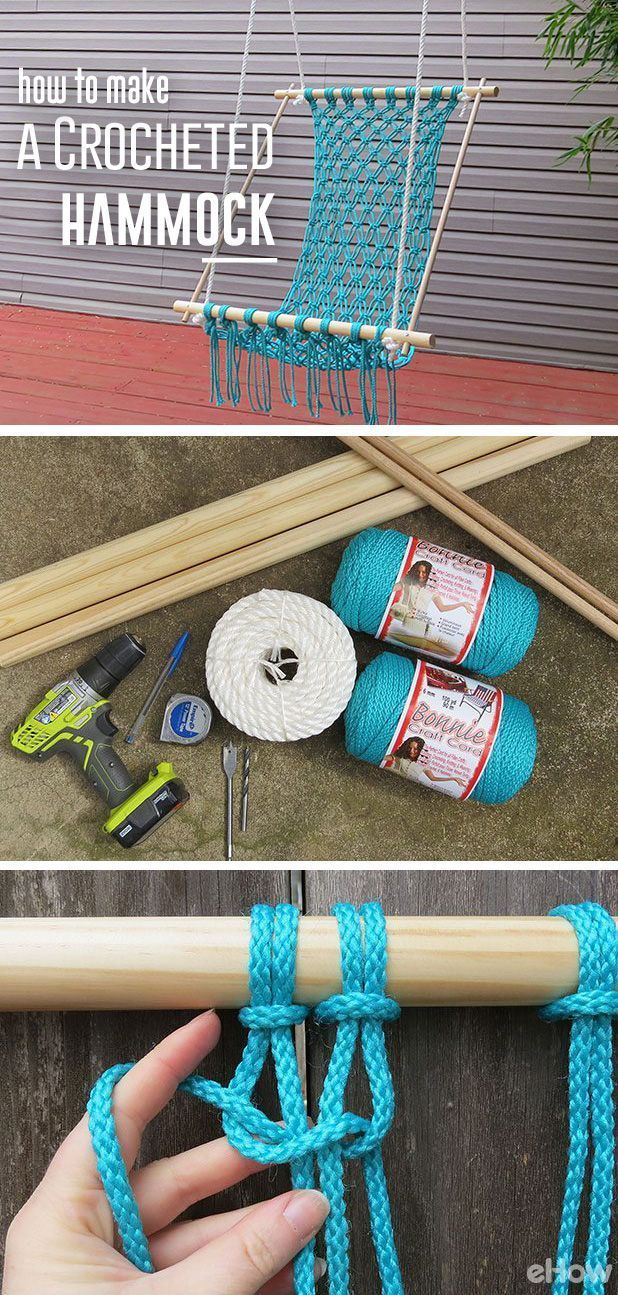 How to Make a Macrame Hammock - excellent tutorial + pictures - via eHow
