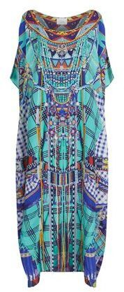 Camilla Long Round Neck Printed Silk Kaftan