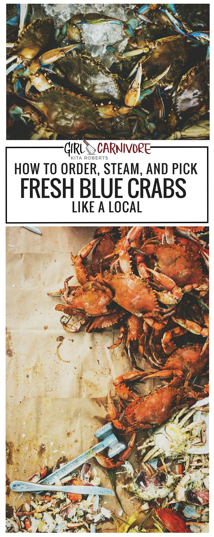 How to Steam Fresh Blue Crabs | Have you ever enjoyed fresh blue crabs? Here's how to bring that great bay flavor home to try for yourself. Recipe and How to at GirlCarnivore.com
