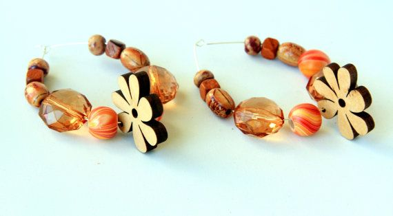 Flowery Hoop Earrings Flower Earrings #Wooden #bead Glass Bead Earrings Lightweight Earrings Spring Summer Earrings #Handmade #Jewelry on ShopJuelerie