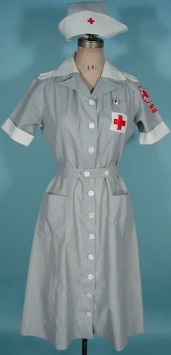 """c. 1942-47 MERCANTILE UNIFORMS, New York WWII """"Gray Lady"""" Complete Red Cross Uniform /American Red Cross Volunteer Outfit"""